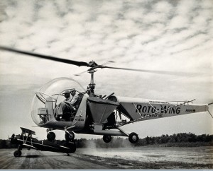 Sir Gordan Covell in a helicopter, Beltsville, MD (Wellcome Images)