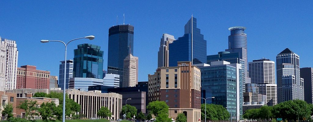 Minneapolis skyline     By AlexiusHoratius (Own work) [CC BY-SA 3.0 (http://creativecommons.org/licenses/by-sa/3.0)], via Wikimedia Commons